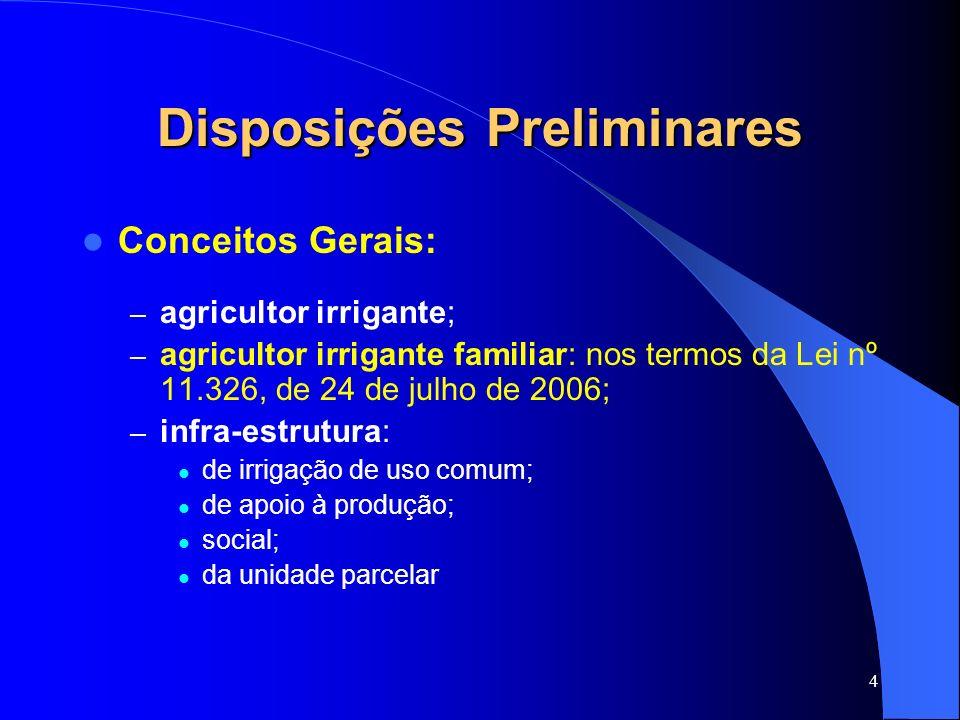 4 Disposições Preliminares Conceitos Gerais: – agricultor irrigante; – agricultor irrigante familiar: nos termos da Lei nº 11.326, de 24 de julho de 2