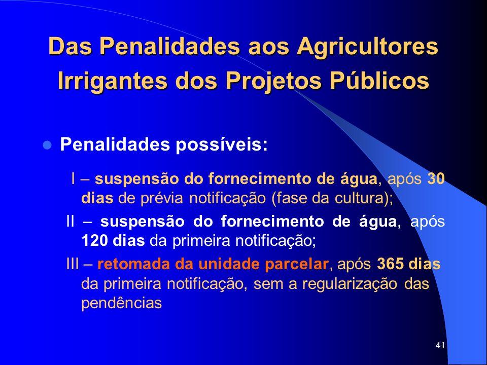 41 Das Penalidades aos Agricultores Irrigantes dos Projetos Públicos Penalidades possíveis: I – suspensão do fornecimento de água, após 30 dias de pré