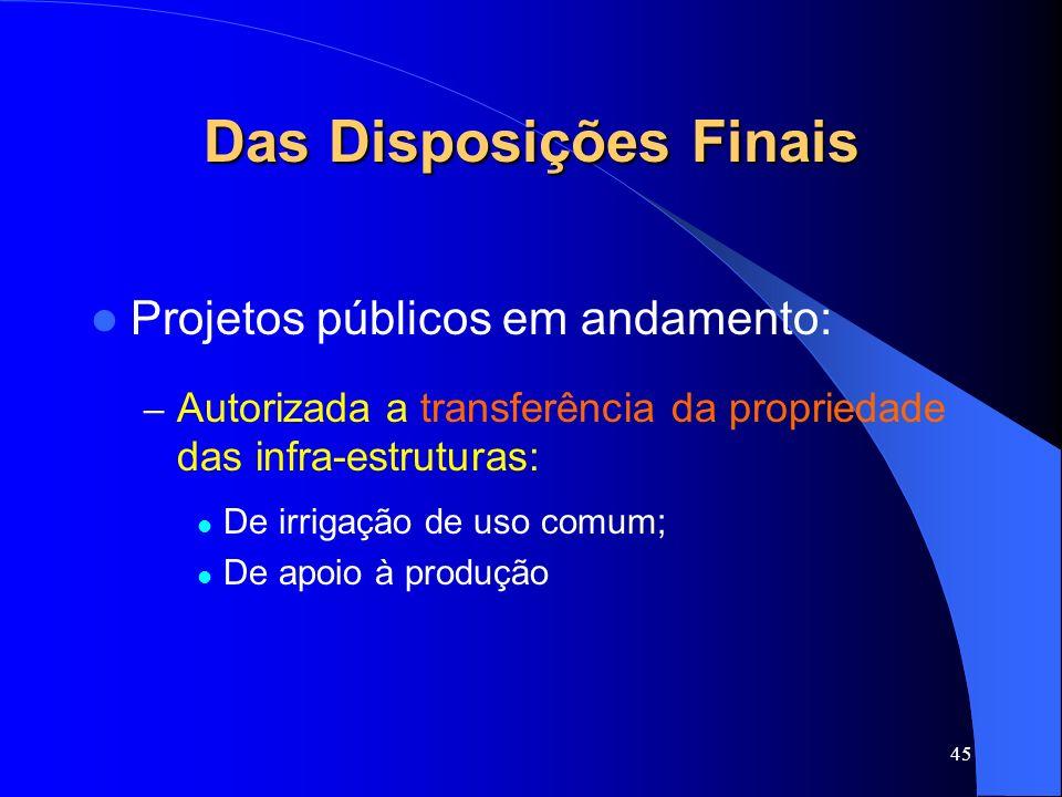 45 Das Disposições Finais Projetos públicos em andamento: – Autorizada a transferência da propriedade das infra-estruturas: De irrigação de uso comum;
