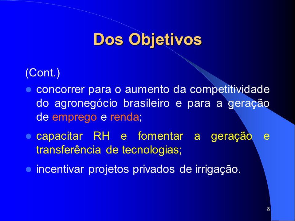 8 Dos Objetivos (Cont.) concorrer para o aumento da competitividade do agronegócio brasileiro e para a geração de emprego e renda; capacitar RH e fome