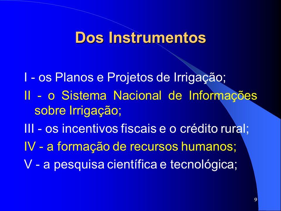 10 Dos Instrumentos VI - a assistência técnica e a extensão rural; VII - as tarifas especiais de energia elétrica para a irrigação; VIII - a certificação dos projetos de irrigação; IX - o Fundo de Investimento em Participações em Infra-Estrutura FIP-IE; X - o Conselho Nacional de Irrigação
