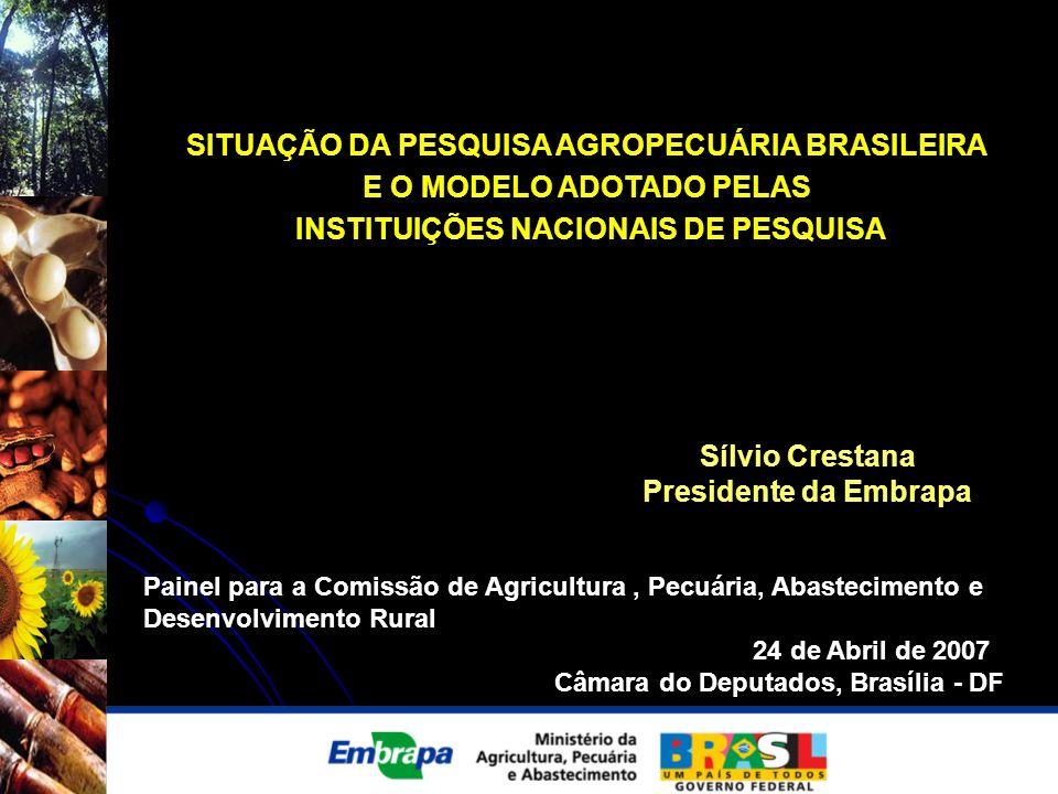 SITUAÇÃO DA PESQUISA AGROPECUÁRIA BRASILEIRA E O MODELO ADOTADO PELAS INSTITUIÇÕES NACIONAIS DE PESQUISA Sílvio Crestana Presidente da Embrapa Painel