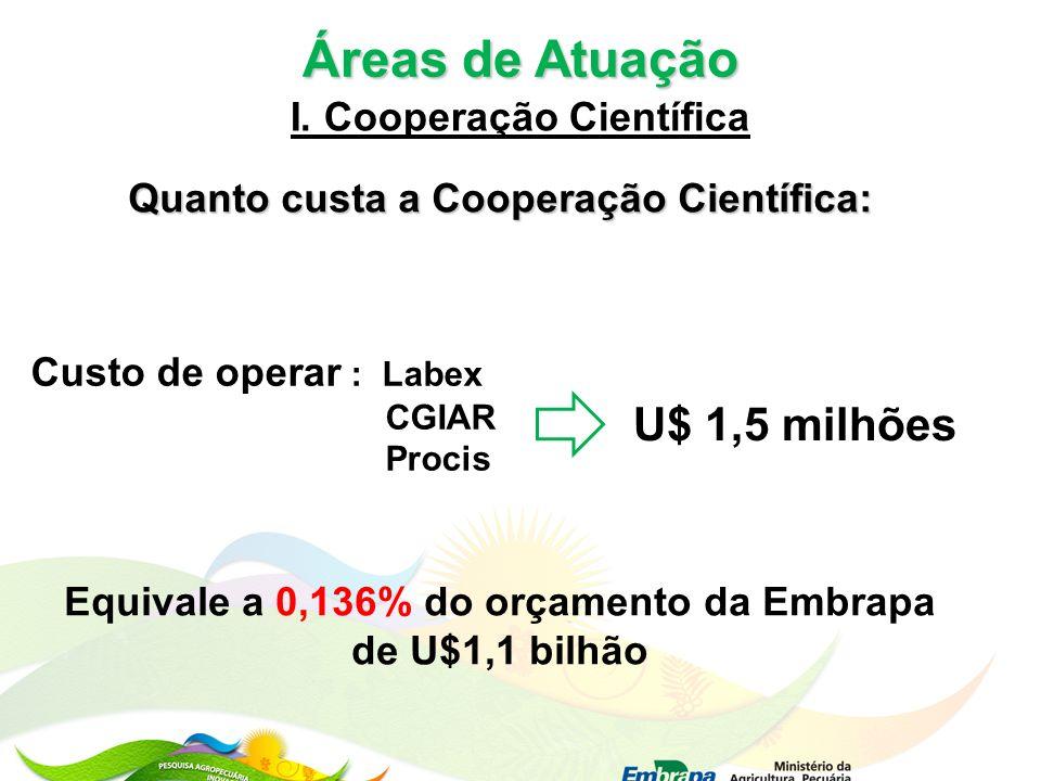 Áreas de Atuação I. Cooperação Científica Quanto custa a Cooperação Científica: Custo de operar : Labex CGIAR Procis U$ 1,5 milhões Equivale a 0,136%