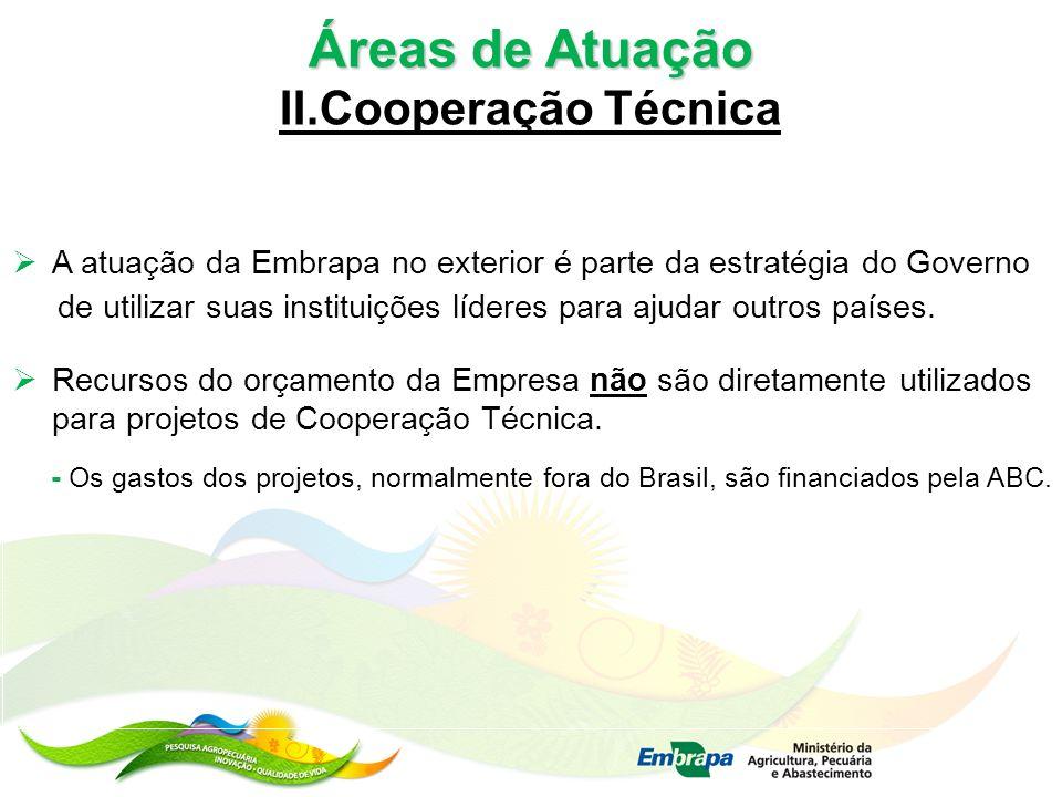 Áreas de Atuação II.Cooperação Técnica A atuação da Embrapa no exterior é parte da estratégia do Governo de utilizar suas instituições líderes para aj
