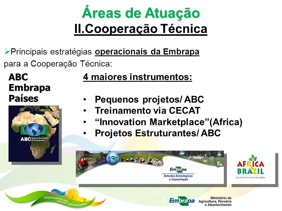 Áreas de Atuação II.Cooperação Técnica Principais estratégias operacionais da Embrapa para a Cooperação Técnica: ABCEmbrapaPaíses 4 maiores instrument