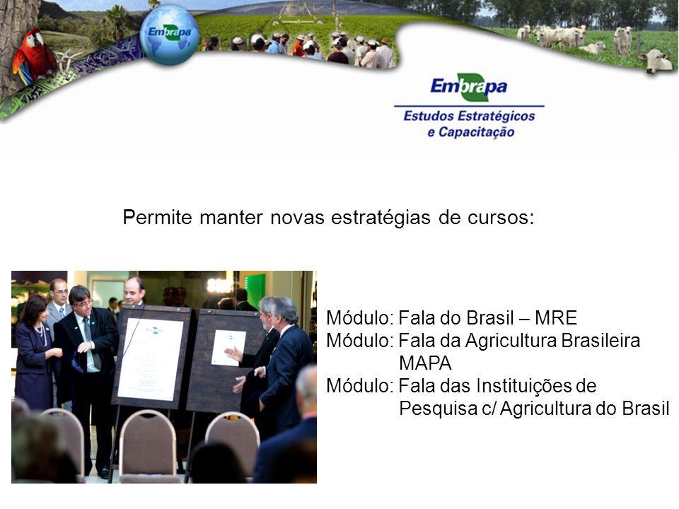 Permite manter novas estratégias de cursos: Módulo: Fala do Brasil – MRE Módulo: Fala da Agricultura Brasileira MAPA Módulo: Fala das Instituições de