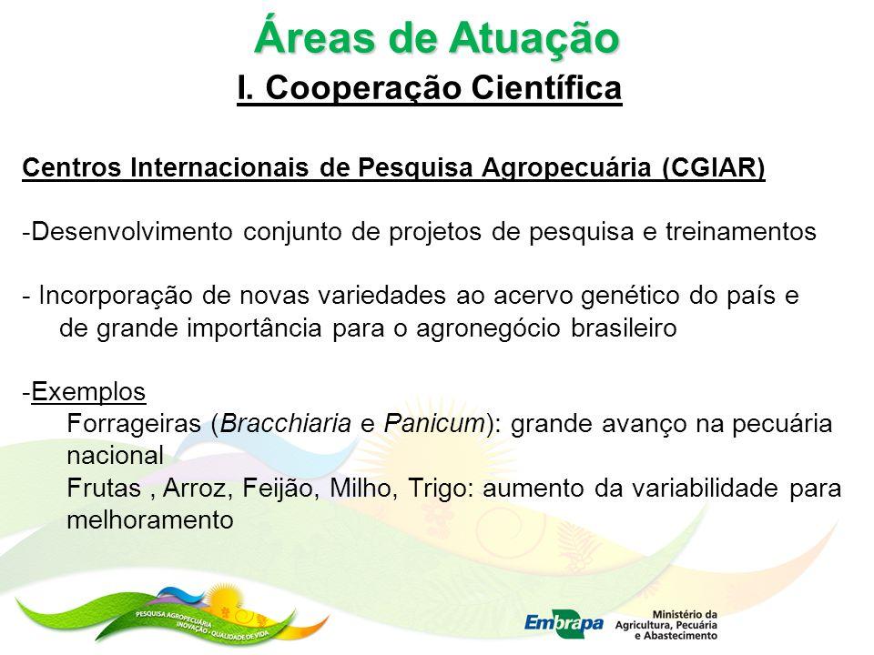 Áreas de Atuação I. Cooperação Científica Centros Internacionais de Pesquisa Agropecuária (CGIAR) -Desenvolvimento conjunto de projetos de pesquisa e