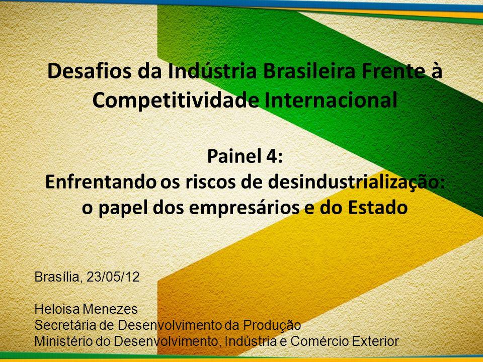 Desafios da Indústria Brasileira Frente à Competitividade Internacional Painel 4: Enfrentando os riscos de desindustrialização: o papel dos empresário