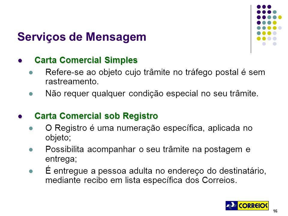 16 Serviços de Mensagem Carta Comercial Simples Carta Comercial Simples Refere-se ao objeto cujo trâmite no tráfego postal é sem rastreamento.