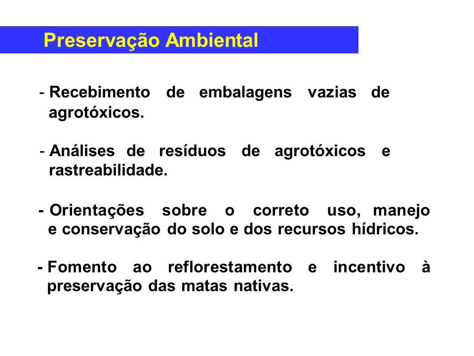 - Fomento ao reflorestamento e incentivo à preservação das matas nativas. -Recebimento de embalagens vazias de agrotóxicos. -Análises de resíduos de a