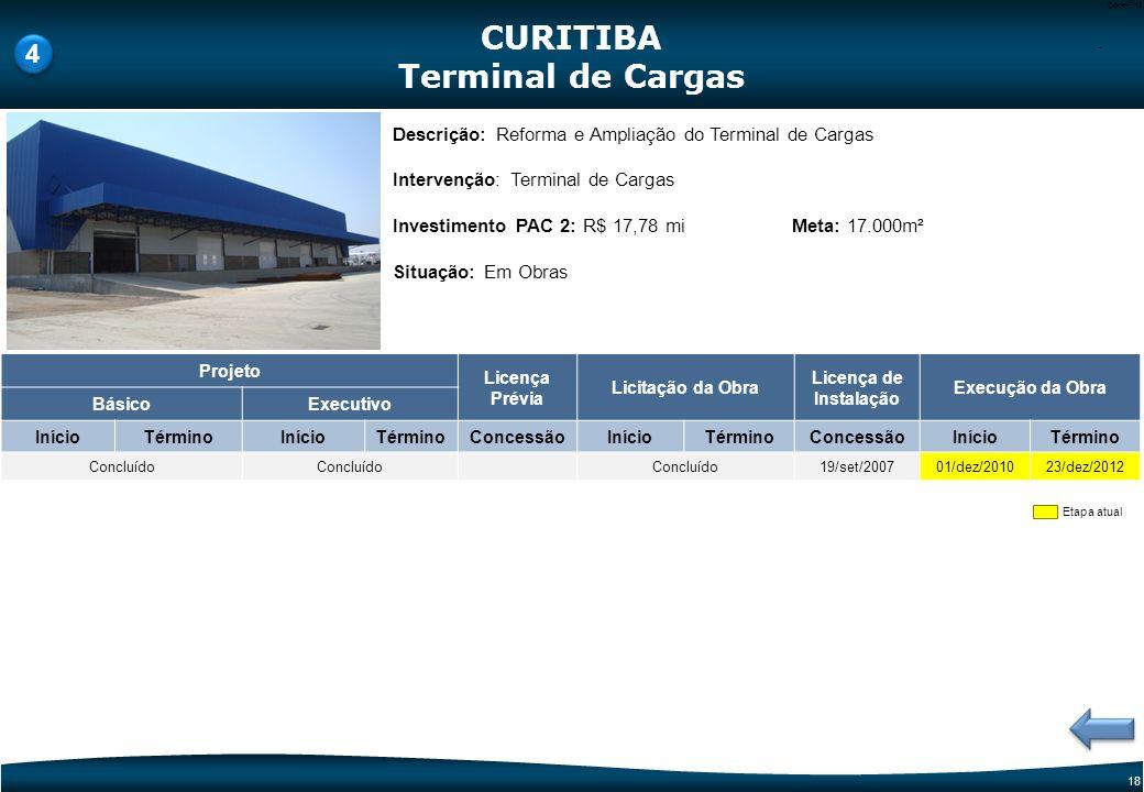 17 Code-P17 Etapa atual Descrição: Ampliação do Terminal de Passageiros e Sistema Viário Intervenção: TPS e Sistema Viário Investimento PAC 2: R$ 41,3