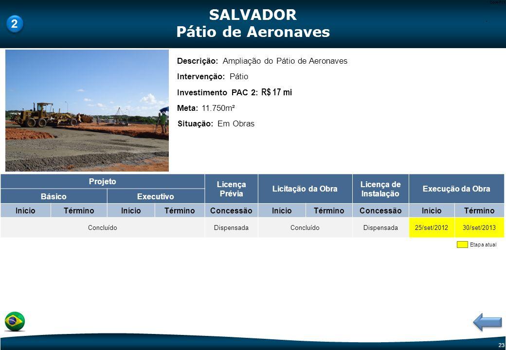 22 Code-P22 Etapa atual Descrição: Reforma e Adequação do Terminal de Passageiros Intervenção: TPS Investimento PAC 2: R$89,0 mi (Proposta da Infraero