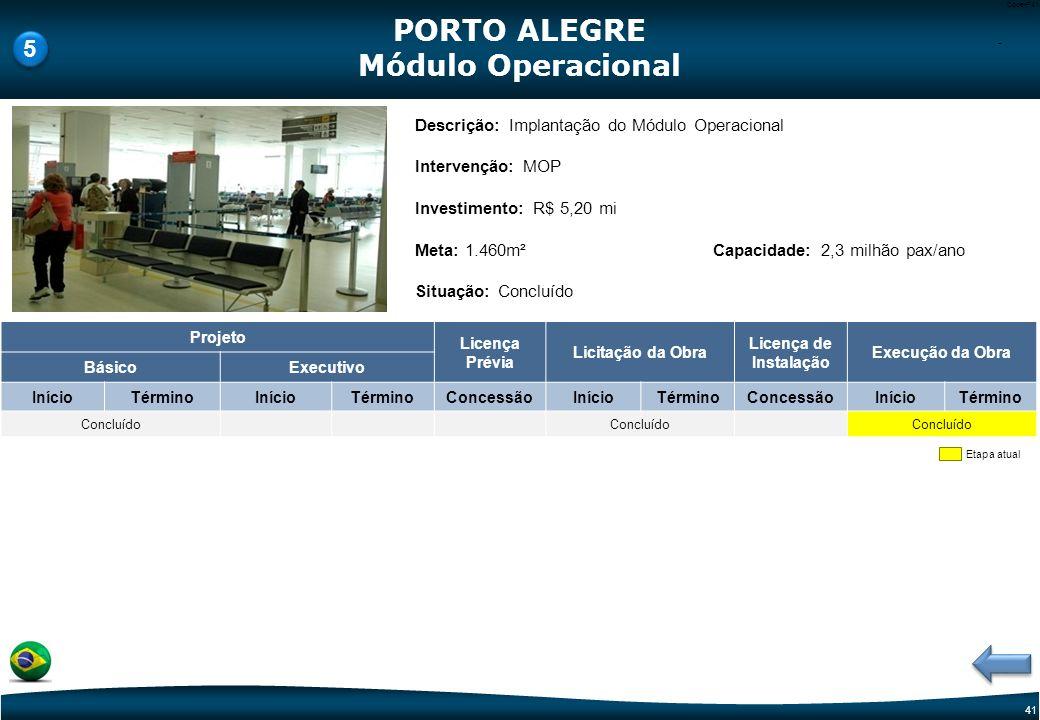 40 Code-P40 Etapa atual Descrição: Novo Terminal de Cargas Intervenção: Terminal de Cargas Investimento PAC 2: R$ 137,15 mi Meta: 29.682m² Situação: E