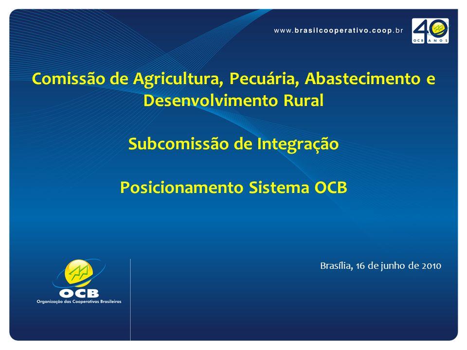Comissão de Agricultura, Pecuária, Abastecimento e Desenvolvimento Rural Subcomissão de Integração Posicionamento Sistema OCB Brasília, 16 de junho de 2010