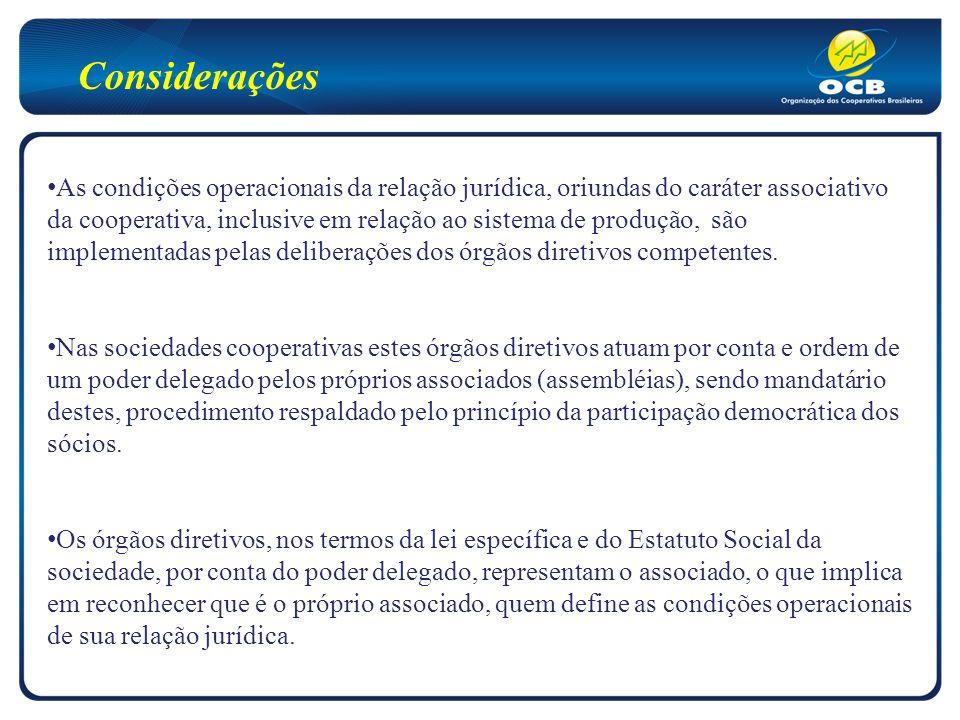 As condições operacionais da relação jurídica, oriundas do caráter associativo da cooperativa, inclusive em relação ao sistema de produção, são implementadas pelas deliberações dos órgãos diretivos competentes.