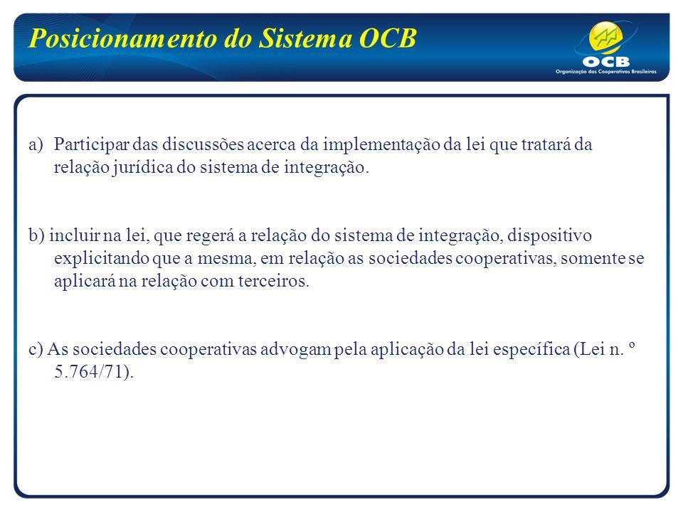Posicionamento do Sistema OCB a)Participar das discussões acerca da implementação da lei que tratará da relação jurídica do sistema de integração.