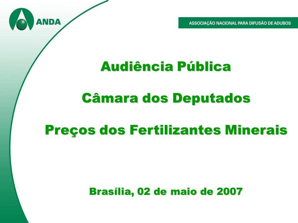 Audiência Pública Câmara dos Deputados Preços dos Fertilizantes Minerais Brasília, 02 de maio de 2007