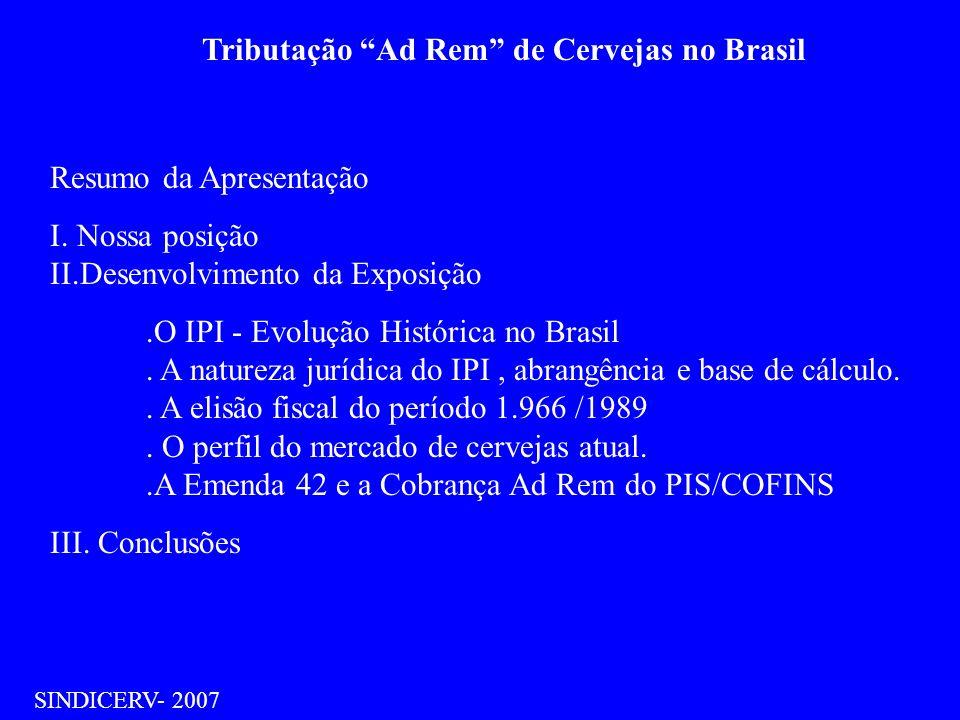 Tributação Ad Rem de Cervejas no Brasil SINDICERV- 2007 Resumo da Apresentação I. Nossa posição II.Desenvolvimento da Exposição.O IPI - Evolução Histó