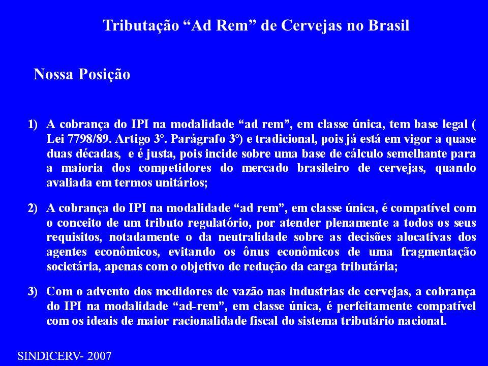 Tributação Ad Rem de Cervejas no Brasil SINDICERV- 2007 IPI no Brasil Tem origem no antigo Imposto de Consumo (IC), de competência federal (Constituição Federal de 1.934) Na reforma tributária de 1.966 ( Decreto 34/66) o IC foi cindido em 2 novos tributos : O IPI e ICM.O IPI, permaneceu na esfera federal,incidindo sobre a industrialização de produtos; e o ICM incidente sobre as atividades de comercialização, passou para a competência dos Estados.