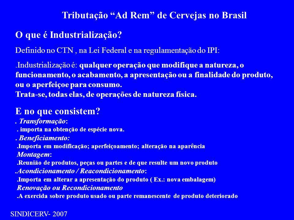 Tributação Ad Rem de Cervejas no Brasil SINDICERV- 2007 O que é Industrialização? Definido no CTN, na Lei Federal e na regulamentação do IPI:.Industri