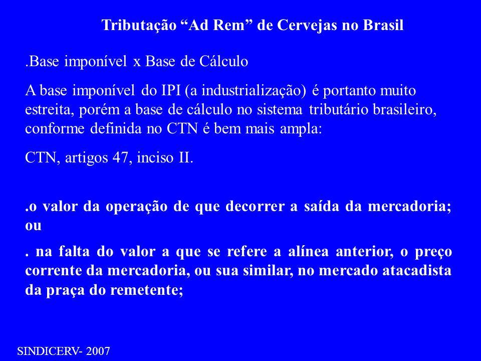 Tributação Ad Rem de Cervejas no Brasil SINDICERV- 2007.Base imponível x Base de Cálculo A base imponível do IPI (a industrialização) é portanto muito