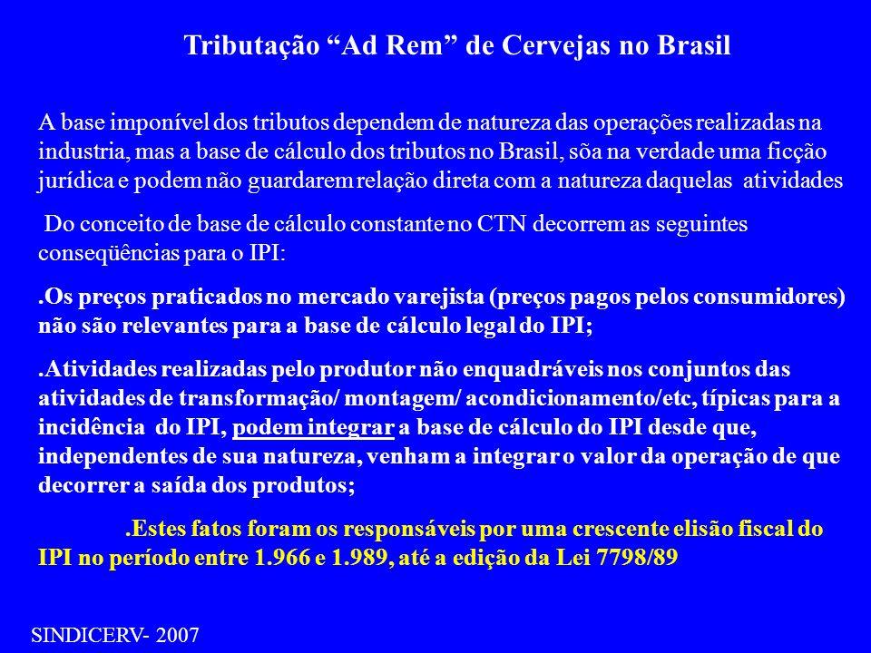 Tributação Ad Rem de Cervejas no Brasil SINDICERV- 2007 A partir da instituição da Lei 7798/89, que entrou em vigor, no segundo semestre daquele ano, eliminou-se as principais práticas elisivas à disposição das empresas, e por conseqüência possibilitou um expressivo crescimento da arrecadação do setor de bebidas a título de IPI.