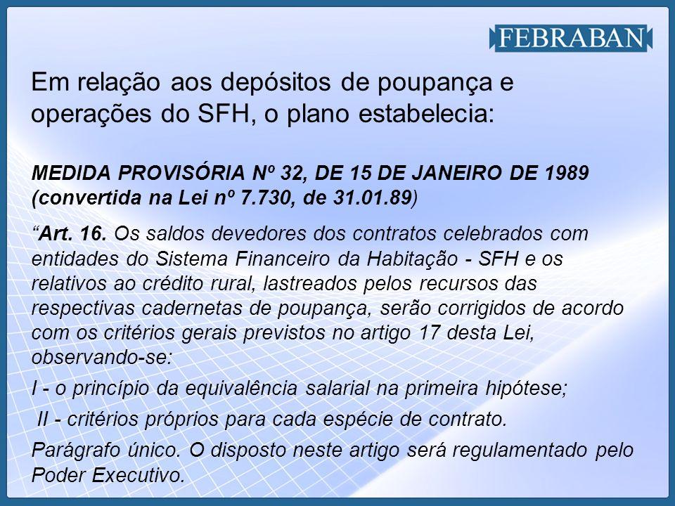 Em relação aos depósitos de poupança e operações do SFH, o plano estabelecia: MEDIDA PROVISÓRIA Nº 32, DE 15 DE JANEIRO DE 1989 (convertida na Lei nº