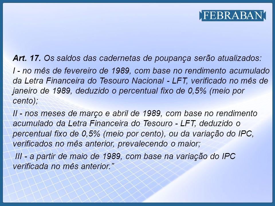 Art. 17. Os saldos das cadernetas de poupança serão atualizados: I - no mês de fevereiro de 1989, com base no rendimento acumulado da Letra Financeira