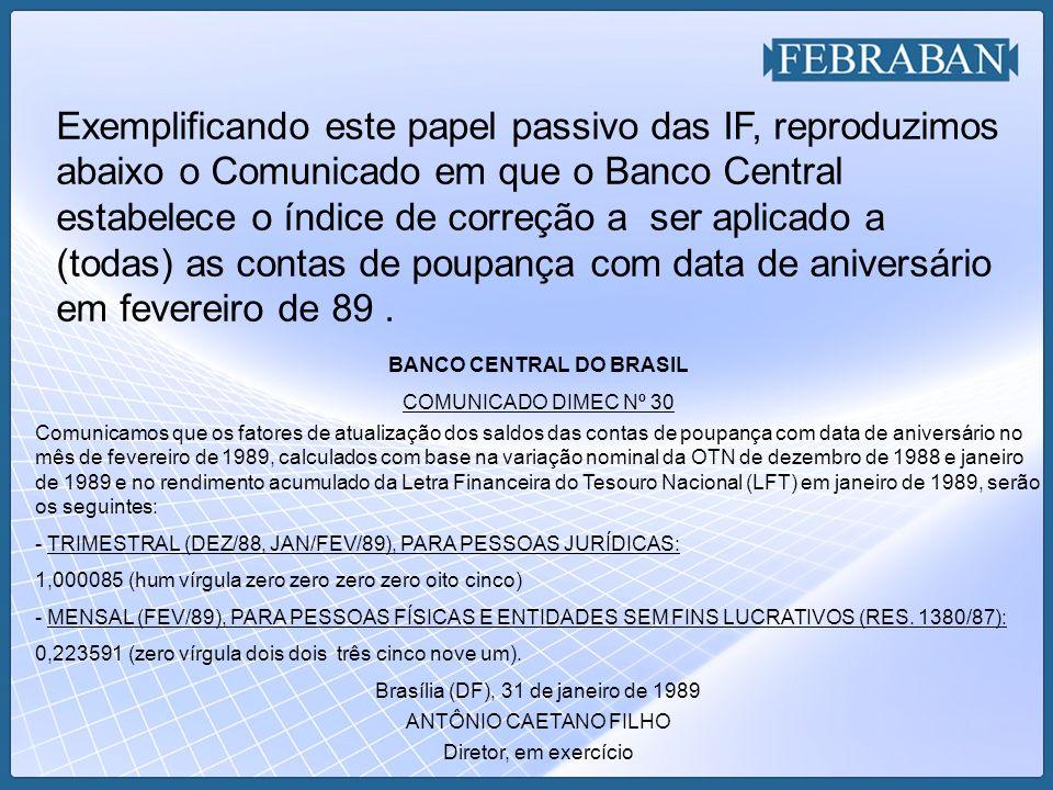 BANCO CENTRAL DO BRASIL COMUNICADO DIMEC Nº 30 Comunicamos que os fatores de atualização dos saldos das contas de poupança com data de aniversário no