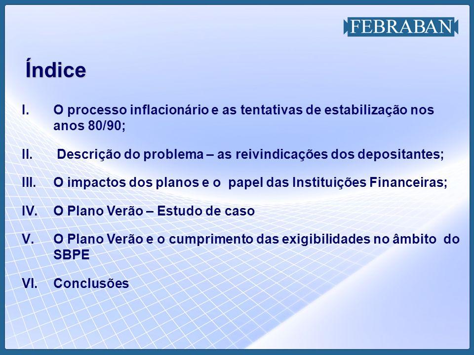 I.O processo inflacionário e as tentativas de estabilização nos anos 80/90; II. Descrição do problema – as reivindicações dos depositantes; III.O impa