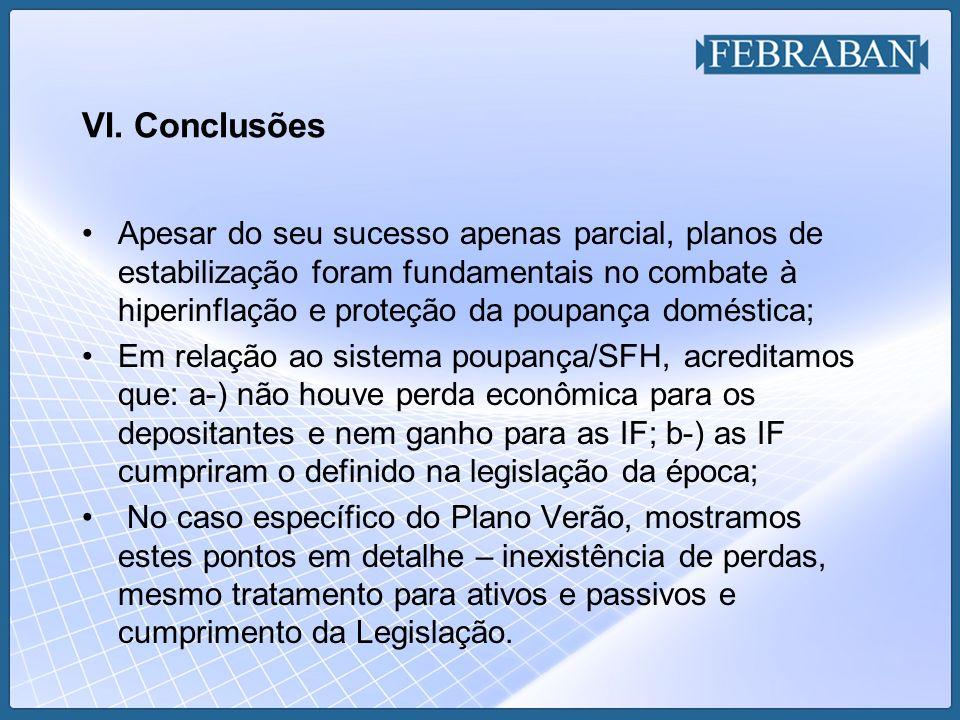 VI. Conclusões Apesar do seu sucesso apenas parcial, planos de estabilização foram fundamentais no combate à hiperinflação e proteção da poupança domé