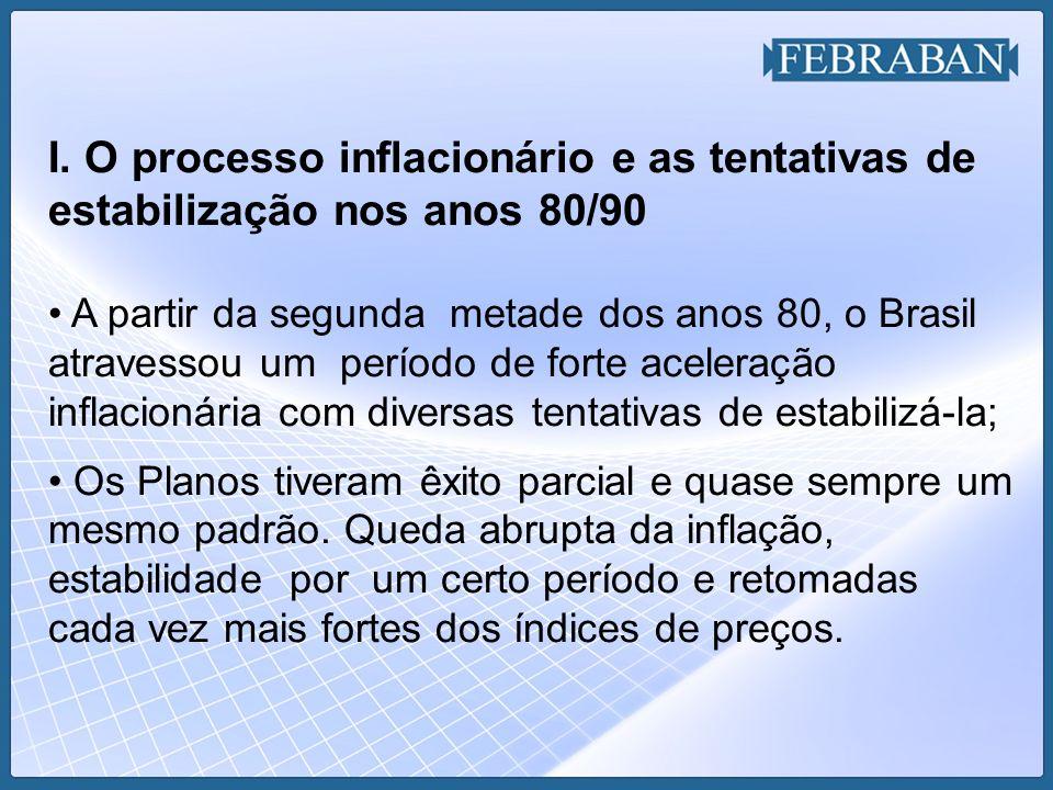 I. O processo inflacionário e as tentativas de estabilização nos anos 80/90 A partir da segunda metade dos anos 80, o Brasil atravessou um período de