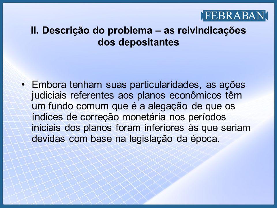 II. Descrição do problema – as reivindicações dos depositantes Embora tenham suas particularidades, as ações judiciais referentes aos planos econômico
