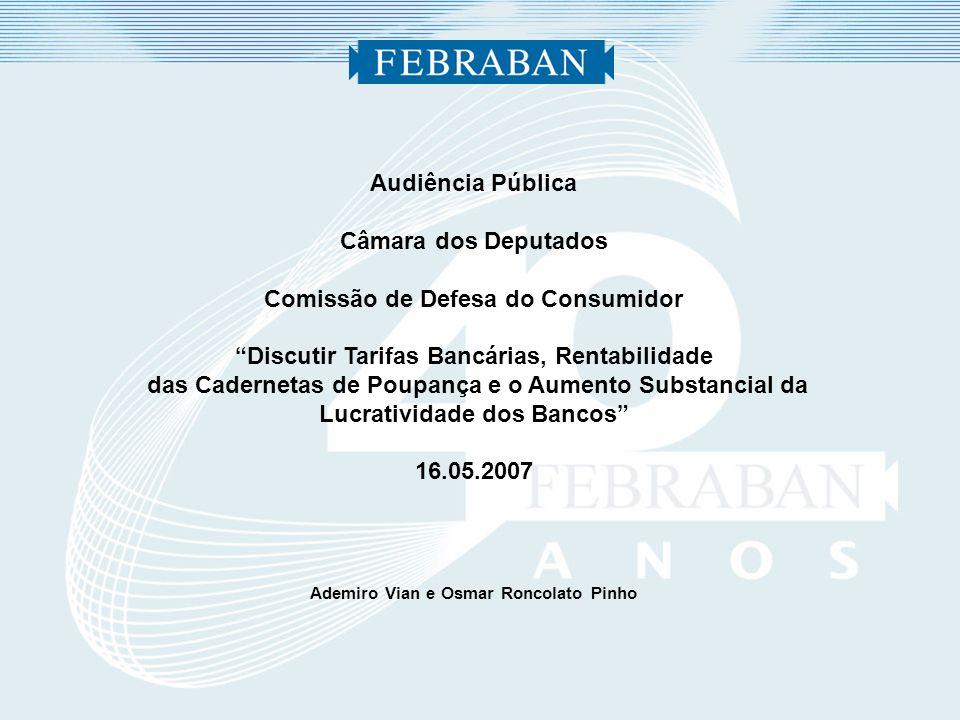Audiência Pública Câmara dos Deputados Comissão de Defesa do Consumidor Discutir Tarifas Bancárias, Rentabilidade das Cadernetas de Poupança e o Aumen