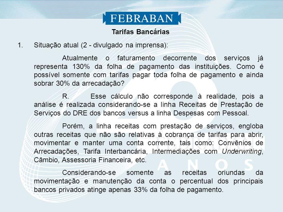 Tarifas Bancárias 1.Situação atual (2 - divulgado na imprensa): Atualmente o faturamento decorrente dos serviços já representa 130% da folha de pagame