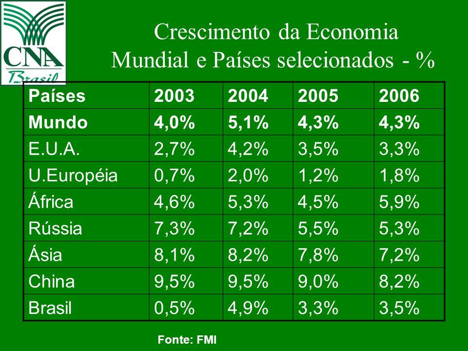 Crescimento da Economia Mundial e Países selecionados - % Países2003200420052006 Mundo4,0%5,1%4,3% E.U.A.2,7%4,2%3,5%3,3% U.Européia0,7%2,0%1,2%1,8% África4,6%5,3%4,5%5,9% Rússia7,3%7,2%5,5%5,3% Ásia8,1%8,2%7,8%7,2% China9,5% 9,0%8,2% Brasil0,5%4,9%3,3%3,5% Fonte: FMI
