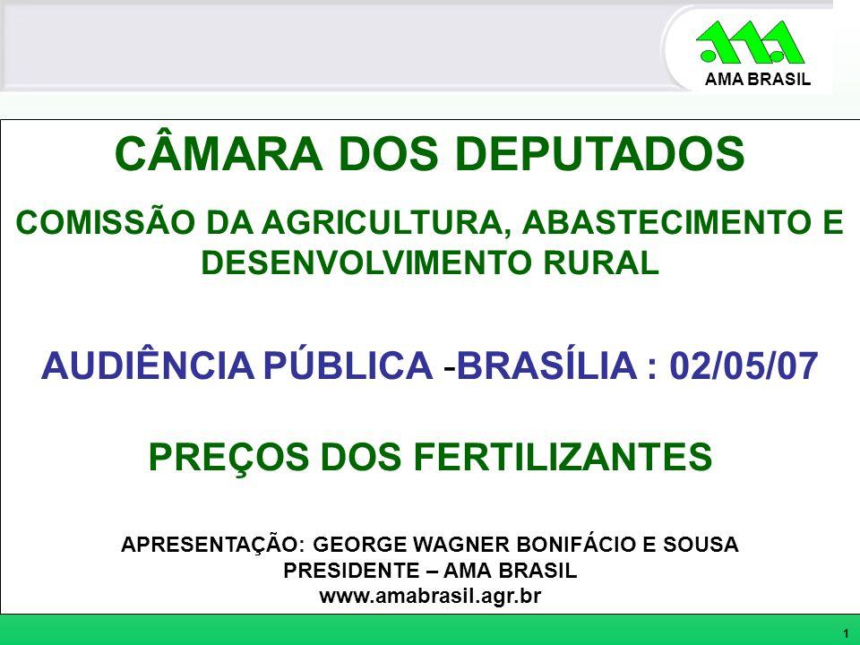 AMA BRASIL CÂMARA DOS DEPUTADOS COMISSÃO DA AGRICULTURA, ABASTECIMENTO E DESENVOLVIMENTO RURAL AUDIÊNCIA PÚBLICA -BRASÍLIA : 02/05/07 PREÇOS DOS FERTI