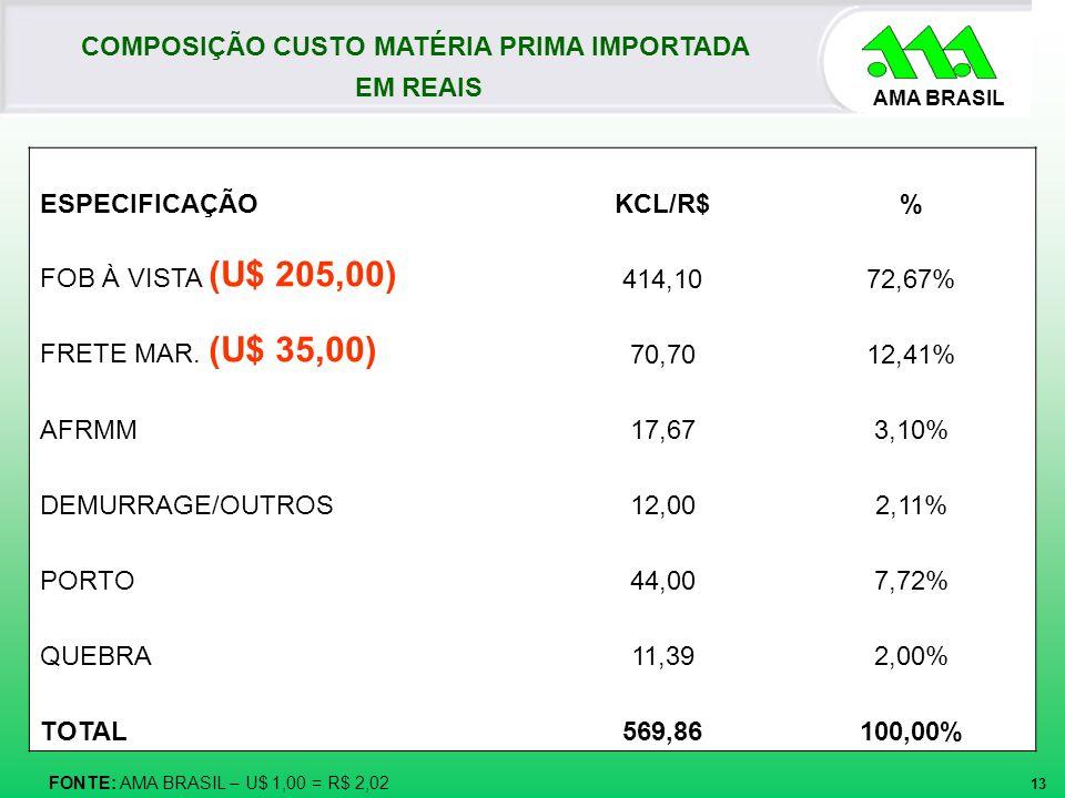 AMA BRASIL 13 COMPOSIÇÃO CUSTO MATÉRIA PRIMA IMPORTADA EM REAIS FONTE: AMA BRASIL – U$ 1,00 = R$ 2,02 ESPECIFICAÇÃOKCL/R$% FOB À VISTA (U$ 205,00) 414