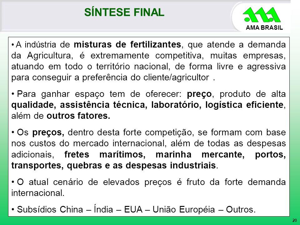 AMA BRASIL A indústria de misturas de fertilizantes, que atende a demanda da Agricultura, é extremamente competitiva, muitas empresas, atuando em todo