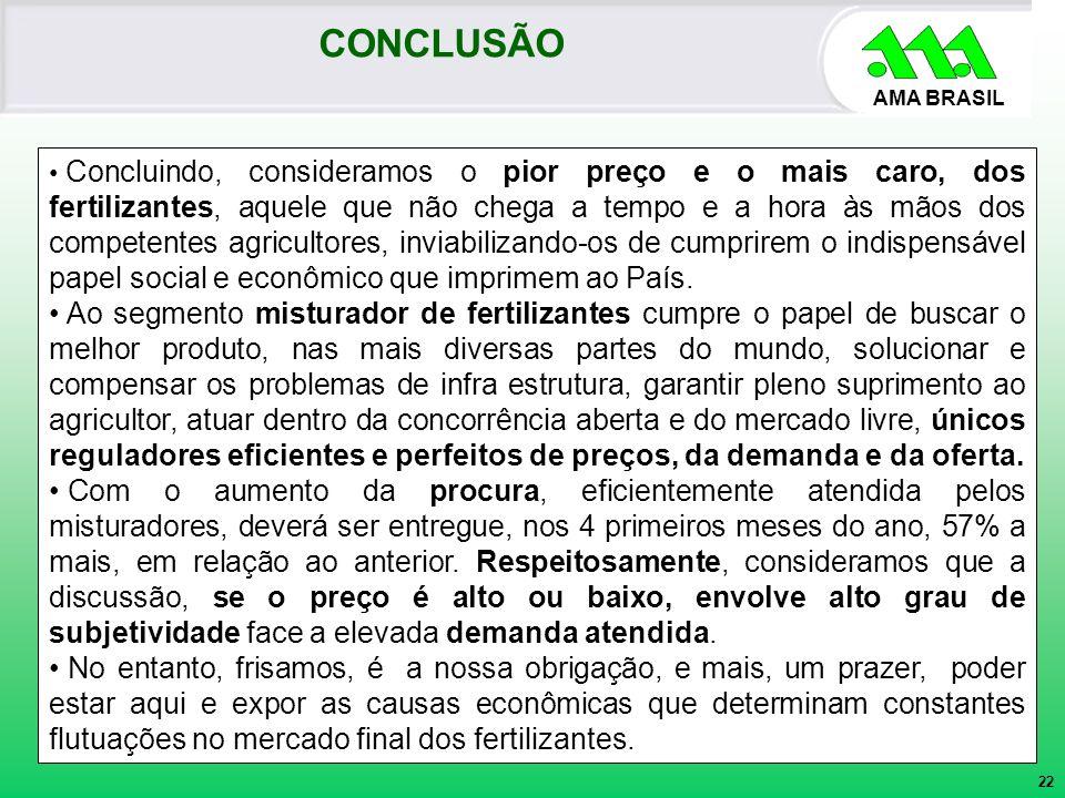 AMA BRASIL Concluindo, consideramos o pior preço e o mais caro, dos fertilizantes, aquele que não chega a tempo e a hora às mãos dos competentes agric