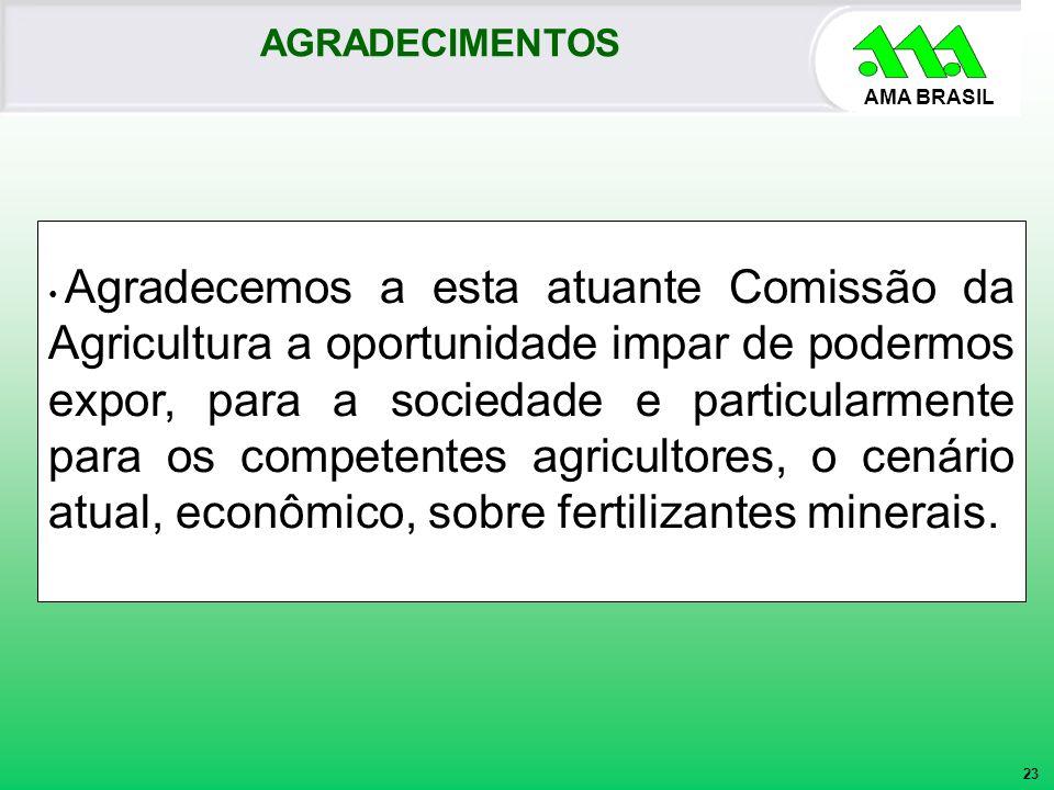 AMA BRASIL Agradecemos a esta atuante Comissão da Agricultura a oportunidade impar de podermos expor, para a sociedade e particularmente para os compe