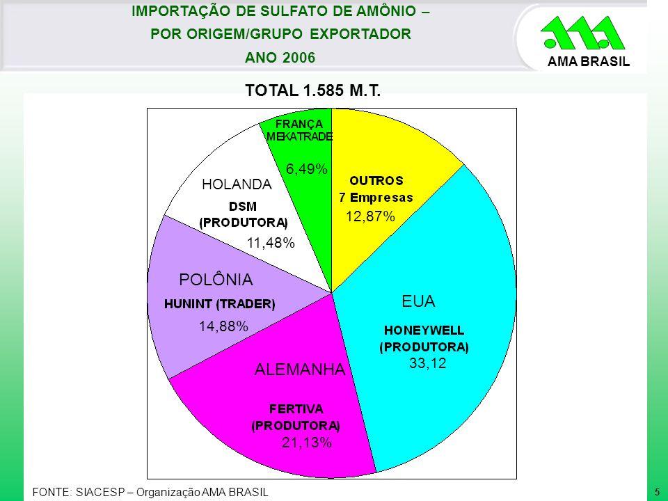 AMA BRASIL TOTAL 1.585 M.T. IMPORTAÇÃO DE SULFATO DE AMÔNIO – POR ORIGEM/GRUPO EXPORTADOR ANO 2006 EUA 33,12 ALEMANHA 21,13% POLÔNIA 14,88% HOLANDA 11