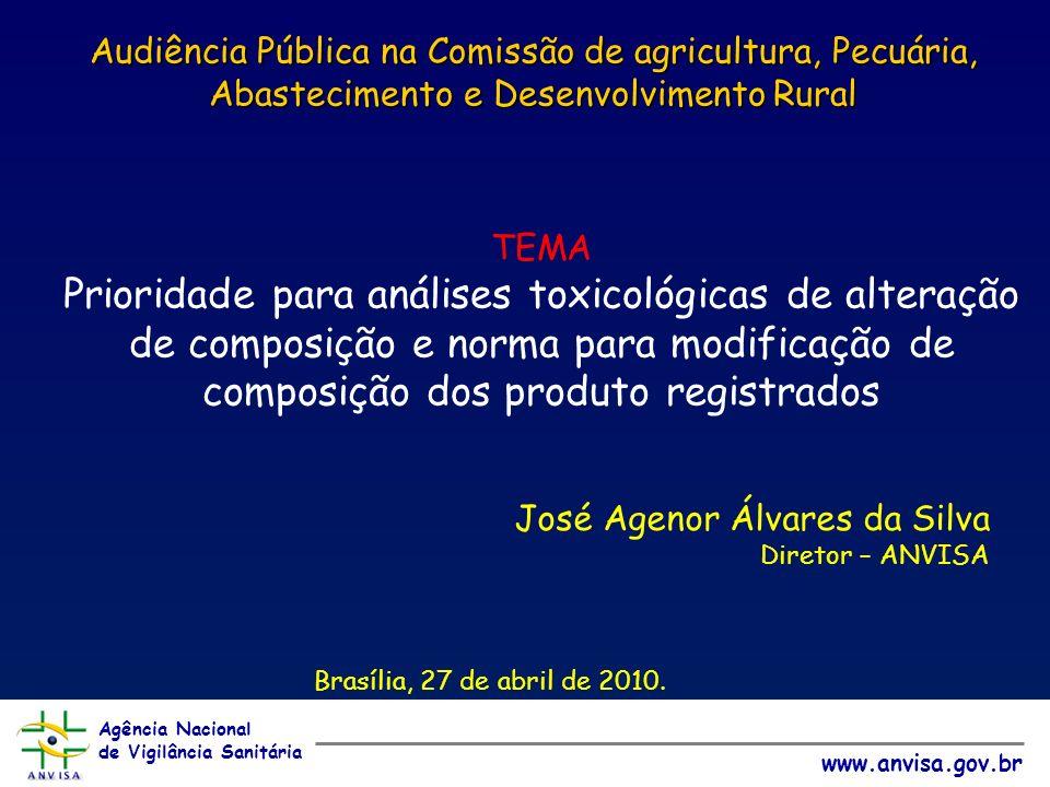 Agência Nacional de Vigilância Sanitária www.anvisa.gov.br Audiência Pública na Comissão de agricultura, Pecuária, Abastecimento e Desenvolvimento Rural José Agenor Álvares da Silva Diretor – ANVISA Brasília, 27 de abril de 2010.