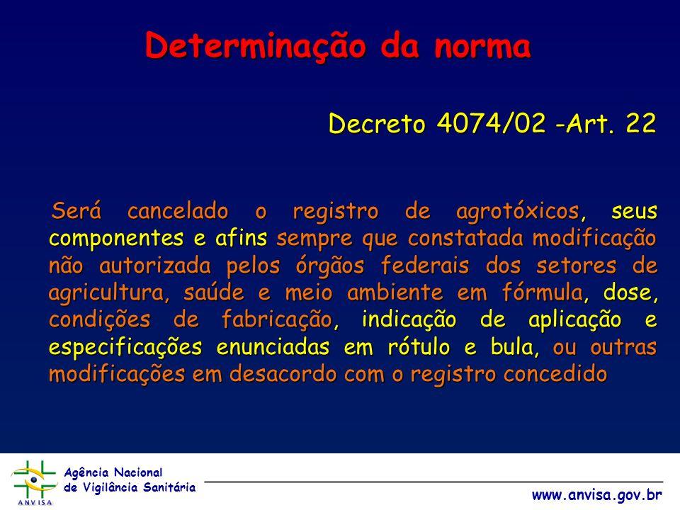 Agência Nacional de Vigilância Sanitária www.anvisa.gov.br Determinação da norma Decreto 4074/02 -Art.