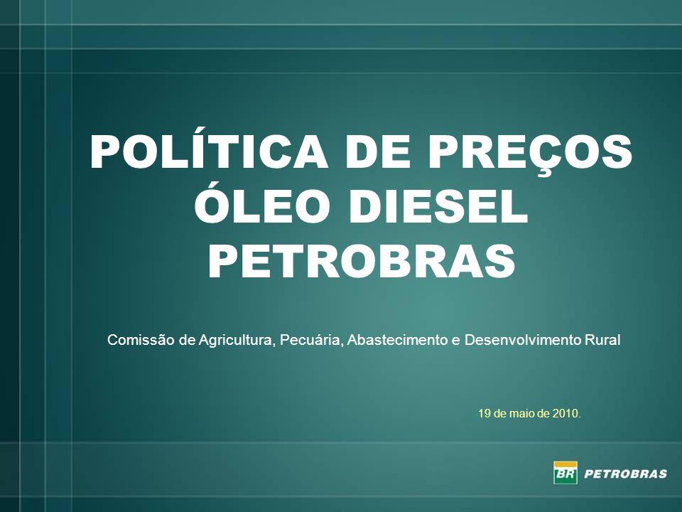 O mercado do diesel As vendas mensais se situam na ordem de 3.500.000 m3; A Petrobras importa cerca de 10% do diesel que vende, trazendo de diferentes países, de diferentes qualidades (500, 50, 10 ppm de enxofre): Índia, Letônia, EUA, China, Países Baixos, Aruba, Coreia do Sul, Golfo Pérsico, Japão, Cingapura, Argentina, dentre outros.