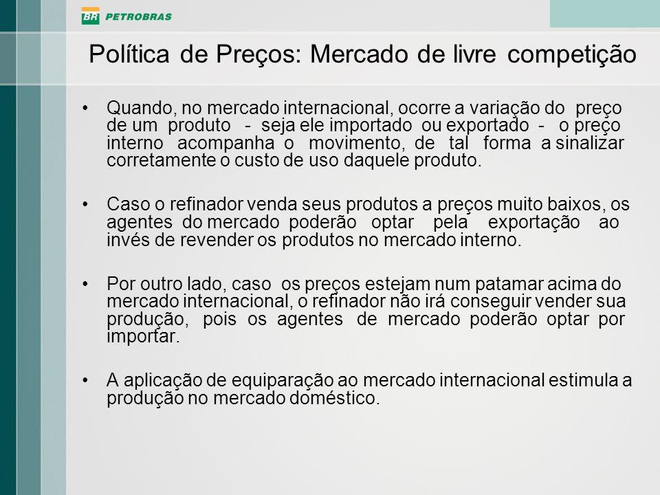 Política de Preços da Petrobras A Petrobras adota uma política de preços dos seus produtos de modo a se manter competitiva em relação aos seus principais concorrentes, os refinadores estrangeiros, sem desconsiderar sua relevância para a economia nacional.