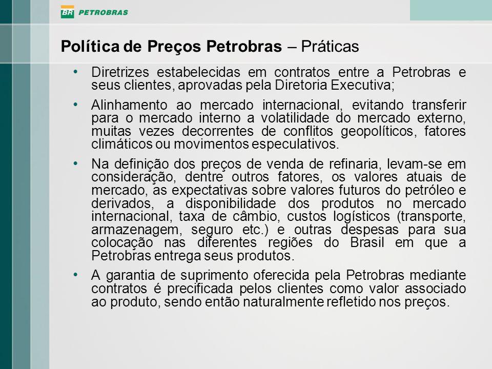 Diretrizes estabelecidas em contratos entre a Petrobras e seus clientes, aprovadas pela Diretoria Executiva; Alinhamento ao mercado internacional, evi