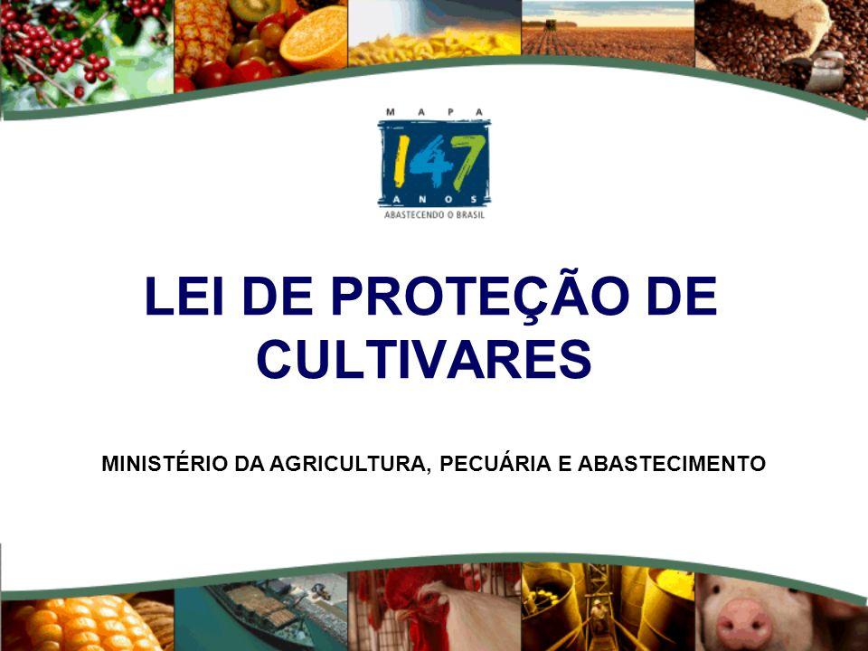 Ministério da Agricultura, Pecuária e Abastecimento. LEI DE PROTEÇÃO DE CULTIVARES MINISTÉRIO DA AGRICULTURA, PECUÁRIA E ABASTECIMENTO
