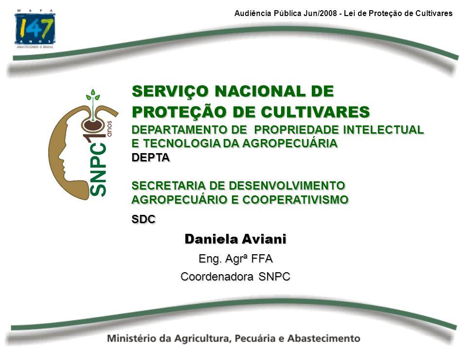 Audiência Pública Jun/2008 - Lei de Proteção de Cultivares SERVIÇO NACIONAL DE PROTEÇÃO DE CULTIVARES DEPARTAMENTO DE PROPRIEDADE INTELECTUAL E TECNOL