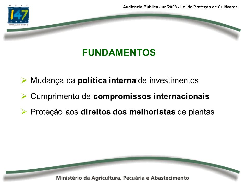 Audiência Pública Jun/2008 - Lei de Proteção de Cultivares Mudança da política interna de investimentos Cumprimento de compromissos internacionais Pro